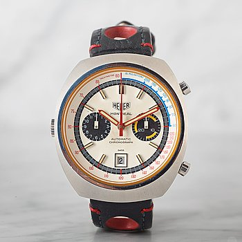 "5. HEUER, Montreal, ""Tachymetre, Pulsations"", chronograph, wristwatch, 42 x 48 mm."