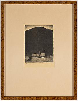 "JOHN BAUER, litografi ur serien ""Troll"", 1915."