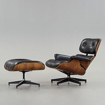 "CHARLES & RAY EAMES, fåtölj med ottoman ""Lounge chair"", Herman Miller, USA ca 1980."