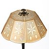 A 1920's patinated metal, lacquered wood, etched och cut glass table lamp, unknown designer, 1920's.