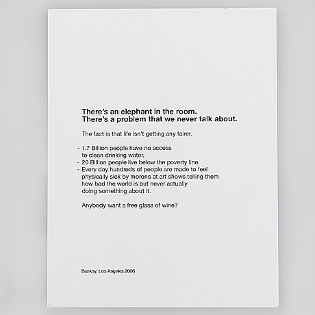 """Banksy, flyer from exhibition """"barely legal"""", 2006, los angeles"""