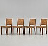 Axel einar hjorth, a set of four 'wärmdö' stained pine chairs, nordiska kompaniet, sweden 1930's.