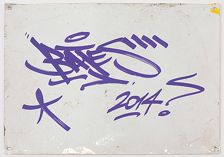 Bates, spray, marker & stickers on metallic sign, signed and dated on verso, 2014