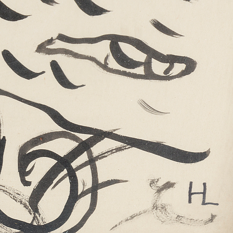 Hilding linnqvist, ink on paper, signed with initials.