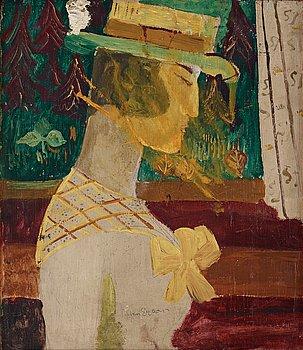 230. Sven X:et Erixson, Kvinna med gul rosett.
