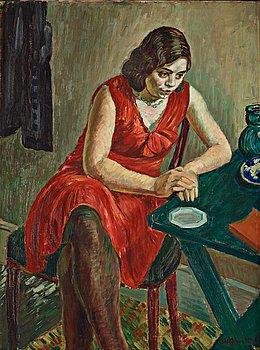 """229. Axel Nilsson, """"Kvinna i röd klänning""""."""
