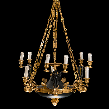 16. A first half 19th Century empire nine-light hanging lamp.