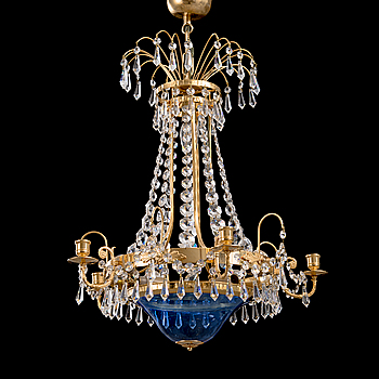 A late 20th Century Gustavian style chandelier.