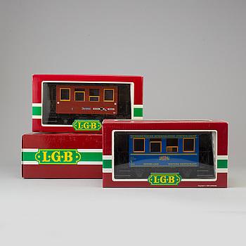 LEHMANN GROSS BAHN, 1 ellok samt 2 vagnar, Tyskland 1980-tal.