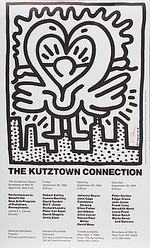 """KEITH HARING, """"Kutztown Connection"""", offset litograph, signed and dated - 84. Numbered 268."""