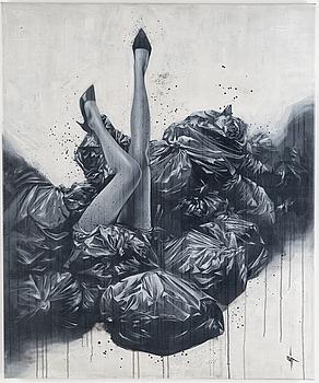 "SIT ""Haiiro 21"", acrylic on paper-panel, signed."