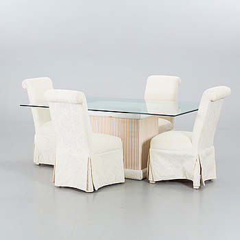 DINNER TABLE WITH FOUR CHAIRS.
