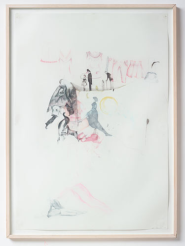 Astrid svangren, crayon on paper, signed and dated -05.