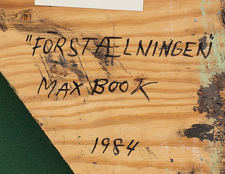 Max mikael book, mixed media on canvas, signed and dated.