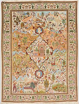 A RUG, Old figural Tabriz, around 214 x 135 cm.