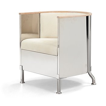 15. Mats Theselius, an 'Inox' polished steel, white soaped oak and white leather, nubuck armchair, Källemo, Sweden post 2015.
