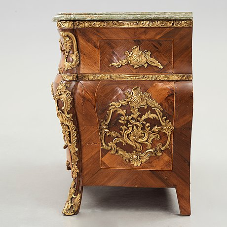 A swedish rococo chest of drawers by christian linning dated 1761 (master in stockholm 1744-1779).