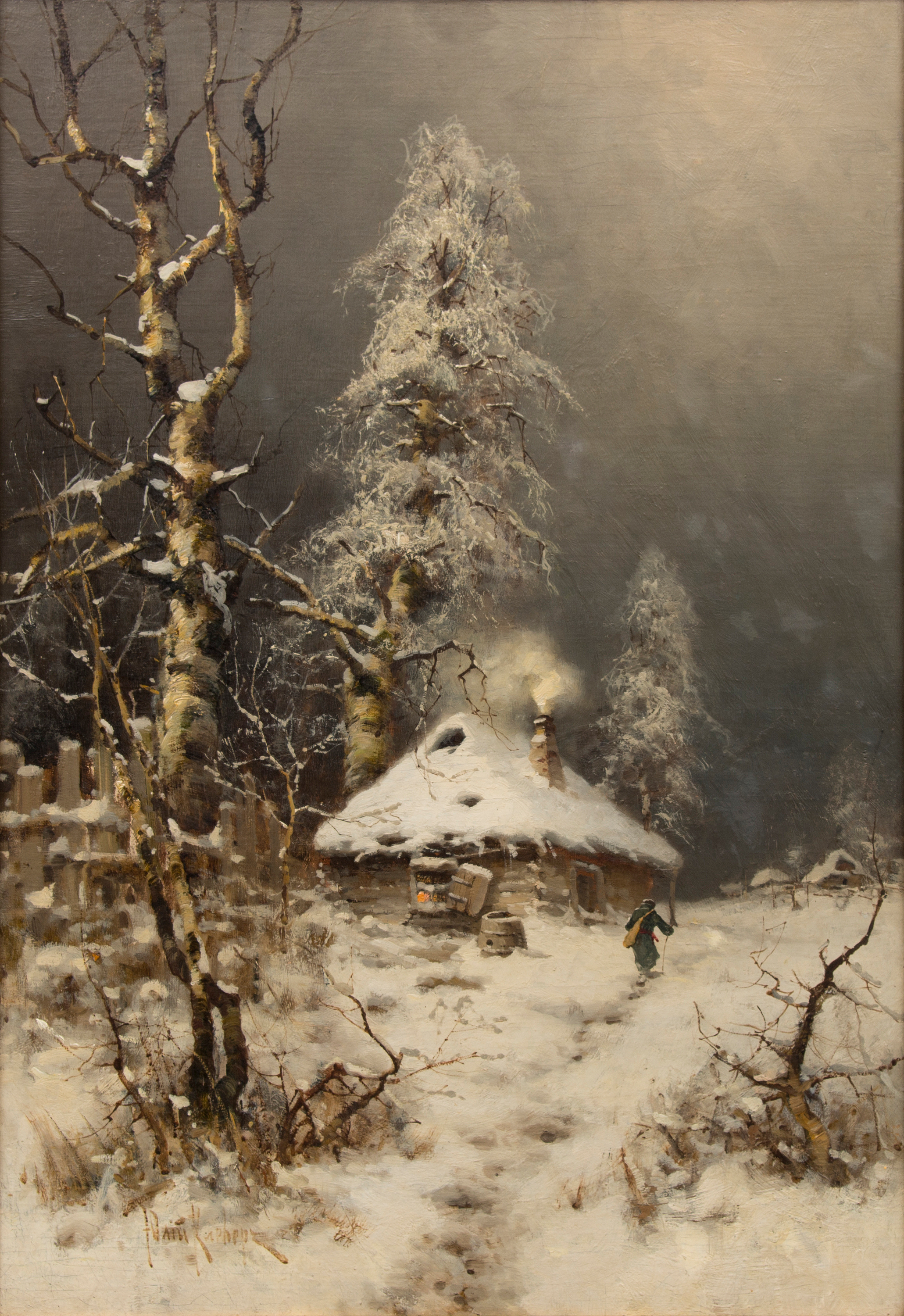 The writing on the picture Krymov Winter evening on the plan 10