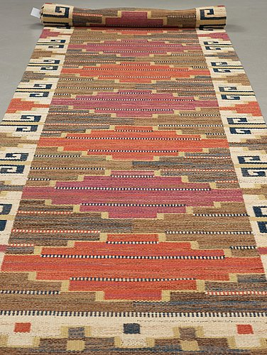 """Märta måås-fjetterström, a runner, """"bruna heden"""", flat weave, ca 525,5 x 102,5 cm, signed ab mmf."""