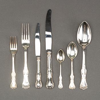 """BESTICKSERVIS, silver, 84 delar(för 12 personer), """"Prins Albert"""" CGH, 1900-talets mitt. Vikt inkl stålblad ca 3,5 kg."""
