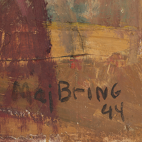 Maj bring, oil on canvas, signed maj bring and dated  44
