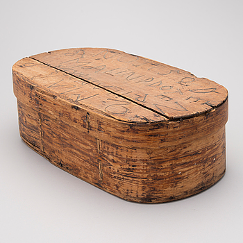 "A folk art wooden box dated on the lid ""2 mars 1752""."