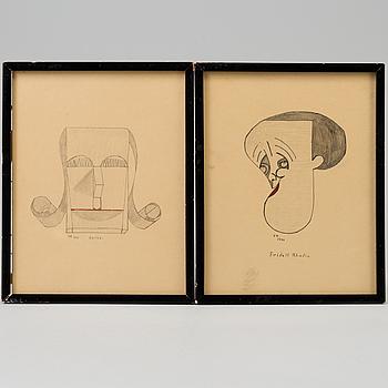 OKÄND KONSTNÄR 1900-TAL, teckningar, 2 st, sign EB dat 1941.