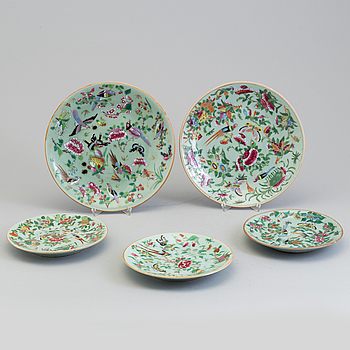 FAT, fem stycken, kanton, porslin. Kina, Qingdynastin, sent 1800-tal.