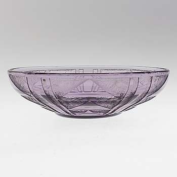 SKÅL, lila glas, Daum, Nancy, Frankrike, signerad, 1900-talets andra hälft.