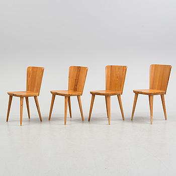 GÖRAN MALMVALL, stolar, 4 st samt en karmstol. Svensk Fur, 1940-tal.