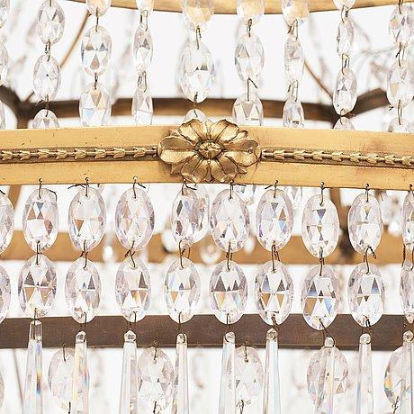 A late gustavian early 19th century seven-light chandelier by carl henrik brolin (1765-1832, master in stockholm 1801).