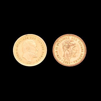 GULDMYNT, 2 st, 5 kr, Oscar II, 1899 & 1901.