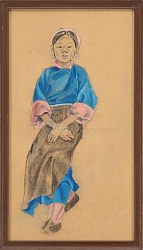 OKÄND KONSTNÄR, blandteknik. Kina, tidigt 1900-tal.