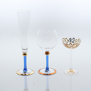 """18 glasses by Erika Lagerbielke for Orrefors, model """"Imperial"""", around the year 2000."""