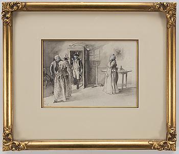 CARL LARSSON. Tuschlavering förhöjd med täckvitt. Sign C.L. Troligen utförd 1891.