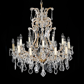 A Maria Theresia style chandelier, around the mid 20th century, hight ca 93 cm.