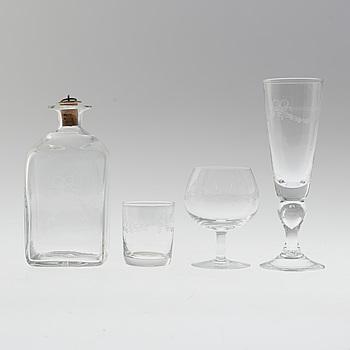 """GLASSERVIS, 30 delar, """"Antik"""", Reijmyre Glasbruk, 1900-talets andra hälft."""