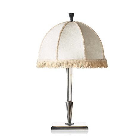 Elis bergh, probably, a silver plated swedish grace table light for cg hallberg, stockholm 1920-30's.