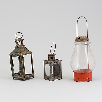 THREE GLASS AND TIN LANTERNS, 19th century.