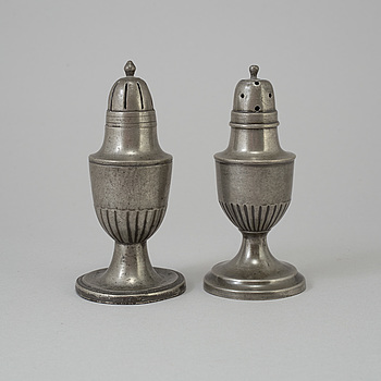 TWO 18TH CENTURY PEWTER SHAKERS,