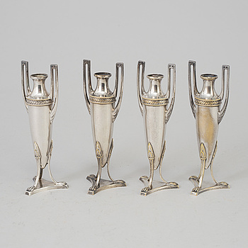 FOUR WMF MINIATURE PLATED VASES, mid 19th century.