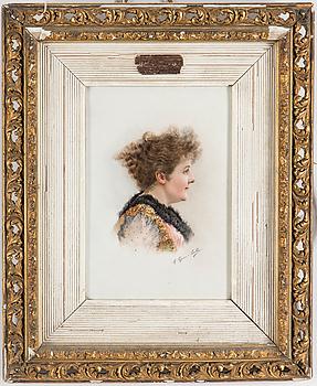 PORSLINSMÅLNING, signerad M Seguin-Sorbé, 1800-/1900-tal.