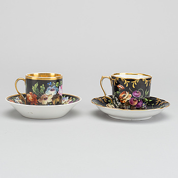 Two 19th century Russian Popoff porcelain cups with saucers.
