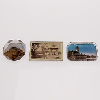 PAPPERSVIKTER, 3 st, glas, Finland och Tyskland, 1800-talets slut.