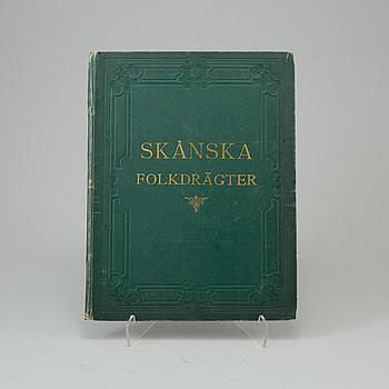 """BOK, """"Skånska Folkdrägter"""", Arvid Kurck, Stockholm 1872."""