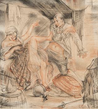 OIDENTIFIERAD KONSTNÄR, teckning på papper, signerad, 1924.