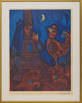 MARC CHAGALL, efter, färglitografi, signerad i trycket samt stämpelsignerad. Tryckt hos Charles Sorlier 1939.