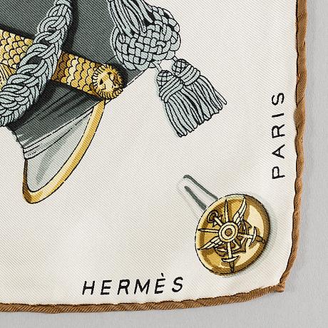 "Scarf, hermès,""coiffures militaires""/vaincre au mourir"", issued 1949."