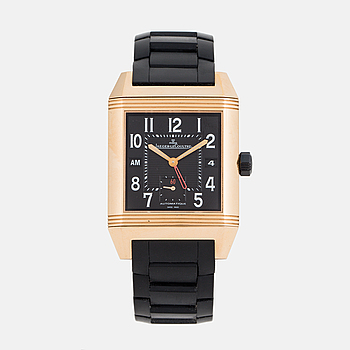 JAEGER-LeCOULTRE, Reverso, Squadra Hometime Black, 1000 Hours, wristwatch 35 x 40,5 (50,5) mm.