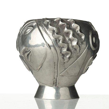 Anna petrus, a pewter vase 'the profile vase', svenskt tenn, stockholm 1960.